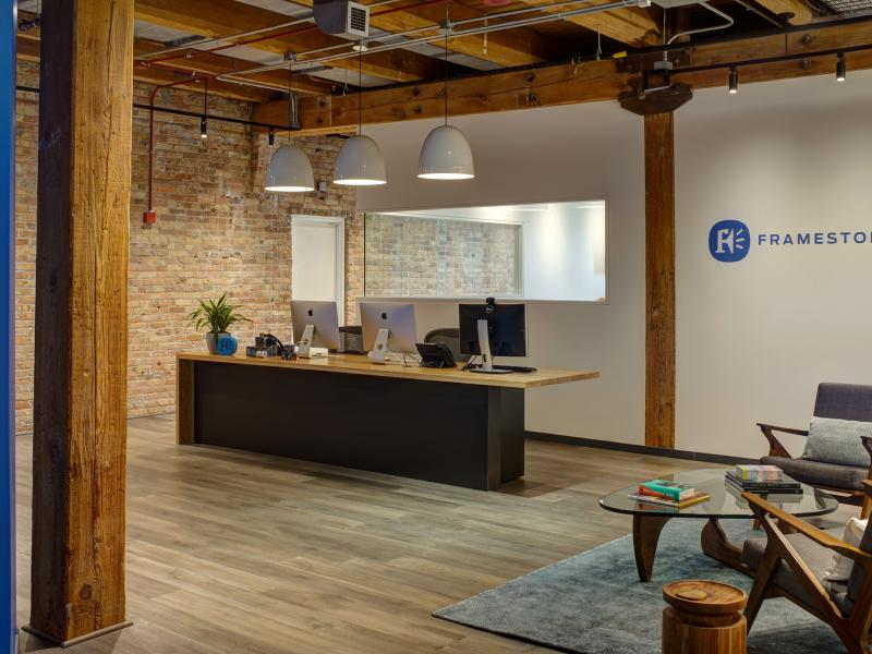 Reception of timber loft office